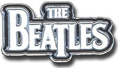 "Metall-Pin LETTERING ""THE BEATLES"" WHITE ON BLACK"