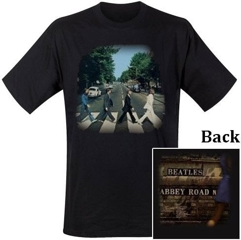 T-Shirt THE BEATLES COVER ABBEY ROAD FRONT & REAR ON BACK