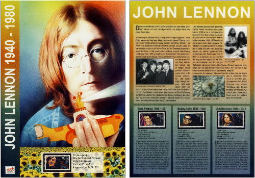 JOHN LENNON-Briefmarke auf Präsennationsbogen