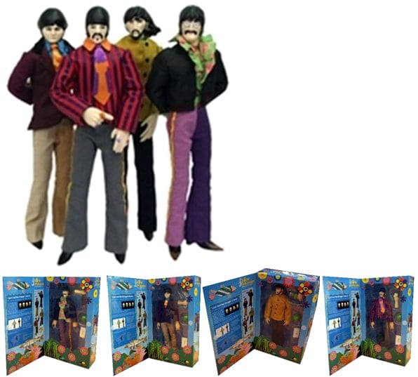 Vier große Stoff-Figuren JOHN, PAUL, GEORGE & RINGO PLUSH COLLEC