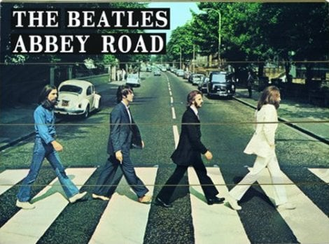 BEATLES-Motiv auf Holzbohlen ABBEY ROAD COVER