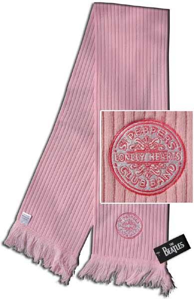 BEATLES-Schal rosa mit gesticktem, aufgenähtem SGT. PEPPER BASS