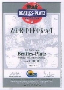 ZERTIFIKAT BEATLES-PLATZ HAMBURG