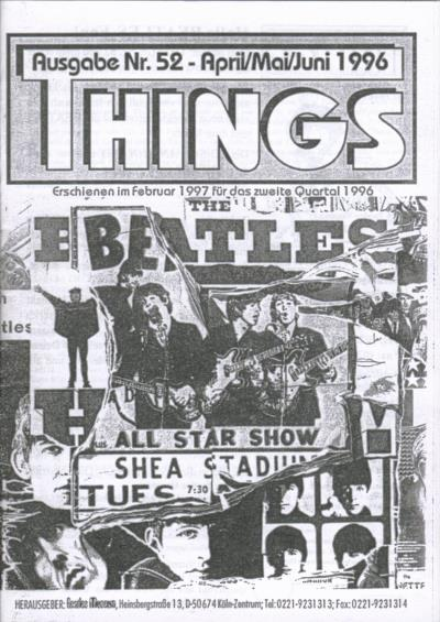 BEATLES: Fan-Magazin THINGS 52