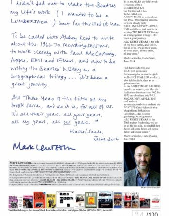 MARK LEWISOHN: sp. print STATEMENT OF THE BEATLES' BIOGRAPHER