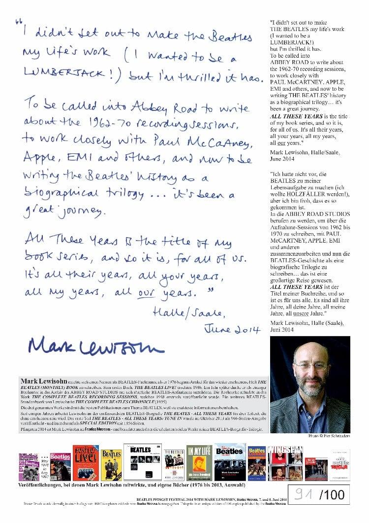 MARK LEWISOHN: sp. print STATEMENT OF THE BEATLES' BIOGRAPHER