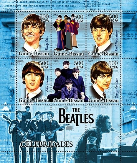 2005: 6 BEATLES-Briefmarken im Block aus Guinea-Bissau