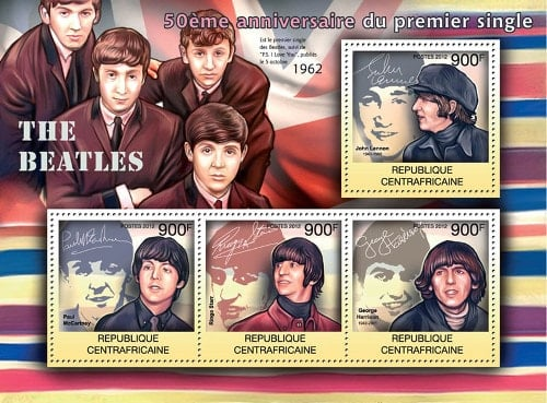 2012: 4 BEATLES-Briefmarken im Block aus Zentralafrika