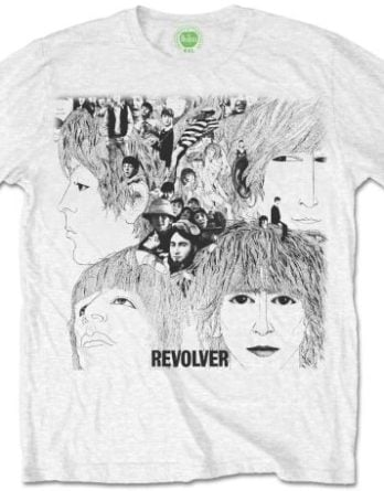 Weißes  BEATLES-T-Shirt REVOLVER ALBUM COVER ON WHITE