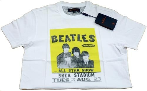 BEATLES T-Shirt  SHEA CONCERT POSTER  AUGUST 23RD 1966 WHITE