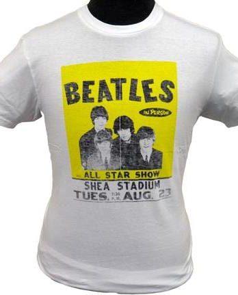 BEATLES Girlie-Shirt  SHEA CONCERT AUGUST 23RD 1966 WHITE