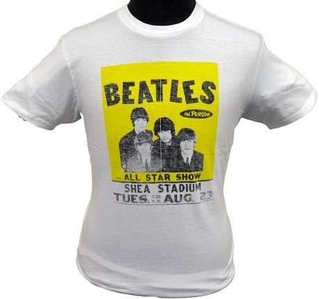 BEATLES Girlie-Shirt  SHEA CONCERT AUGUST 23RD 1966 WHITE