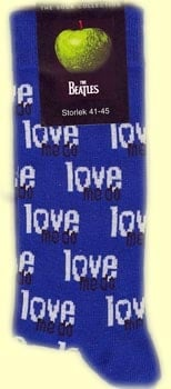 Socken LETTERING LOVE ME DO WHITE AND BLACK ON BLUE