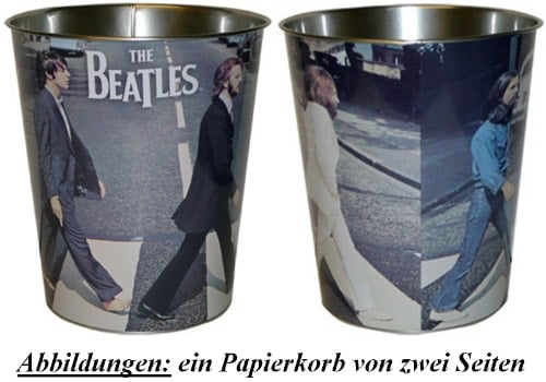 BEATLES-Papierkorb ABBEY ROAD & LETTERING THE BEATLES