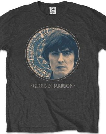 GEORGE HARRISON-T-Shirt PORTAIT 1965 IN CIRCLE ON GREY