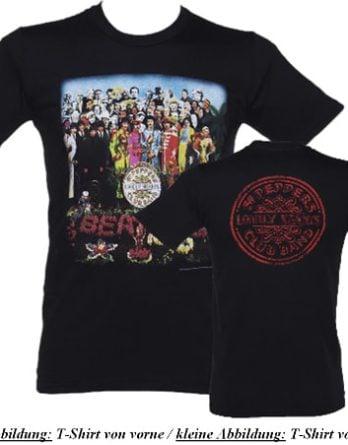 BEATLES-T-Shirt SGT. PEPPER ALBUM COVER & BASSDRUM LOGO ON BLACK