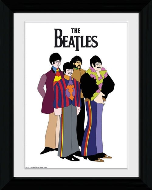 BEATLES-special print im Holzrahmen YELLOW SUBMARINE GROUP