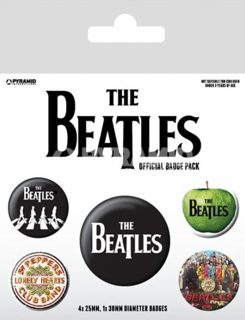 BEATLES-Button-Set THE BEATLES LETTERING WHITE ON BLACK