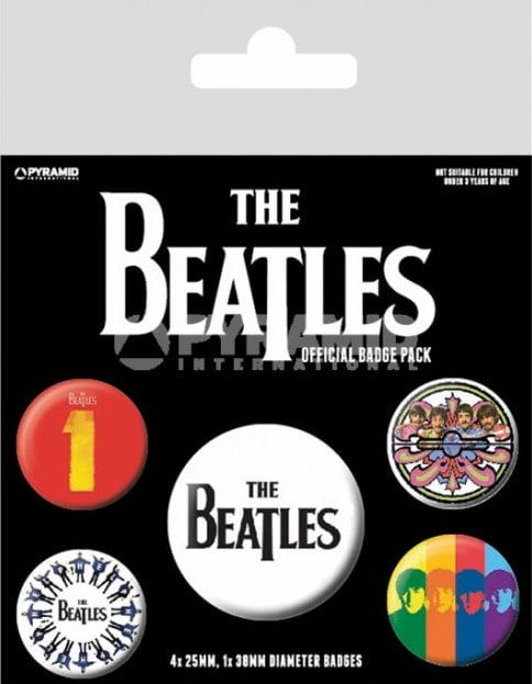BEATLES-Button-Set THE BEATLES LETTERING BLACK ON WHITE
