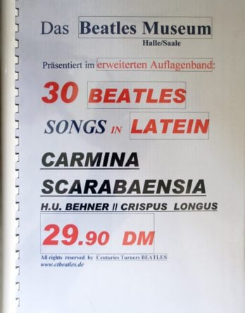 BEATLES-Heft CARMINA SCARABAENSIA - 30 BEATLES-SONGS IN LATEIN