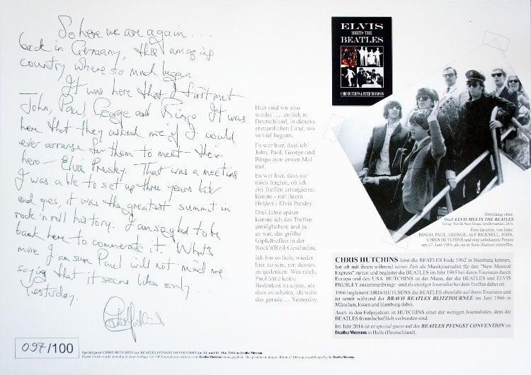 CHRIS HUTCHNS: special print BEATLES & ELVIS - THE SUMMIT