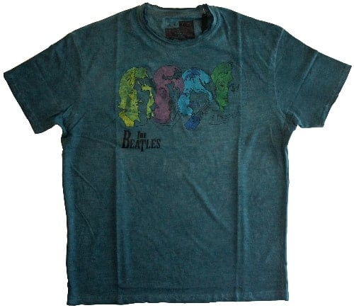T-Shirt THE BEATLES PHOTOS WHITE ALBUM COLOUR SILHOUETTE, petrol