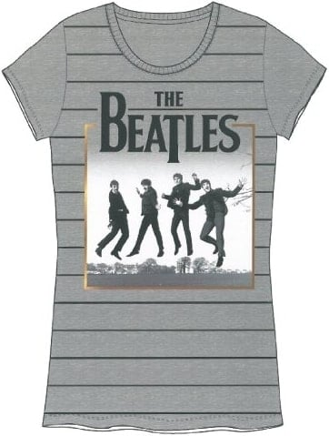 BEATLES Girlie-Shirt JUMPING BEATLES ON GREY