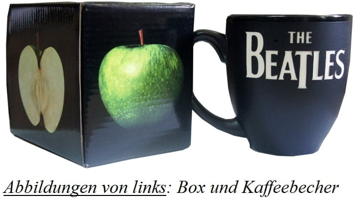 """Bauchiger"" Kaffeebecher LETTERING ""THE BEATLES"" WHITE ON BLACK"