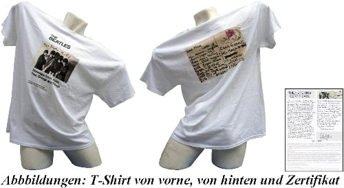 BEATLES-T-Shirt MESSAGES FROM J, P, G & R mit sign. Zertifikat