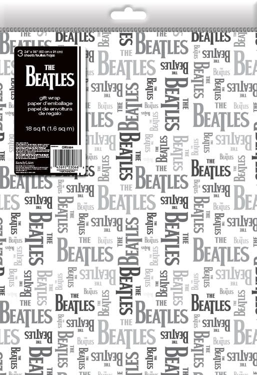 3 x Geschenkpapier LETTERING BEATLES BLACK & GREY ON WHITE
