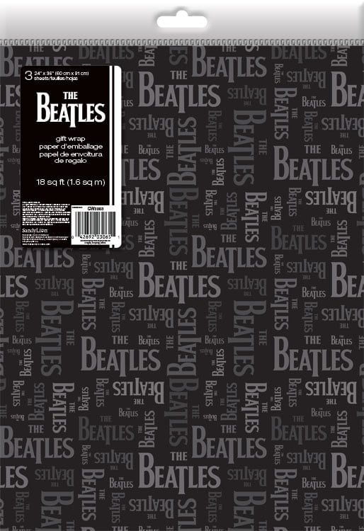 3 x Geschenkpapier LETTERING BEATLES GREY ON BLACK