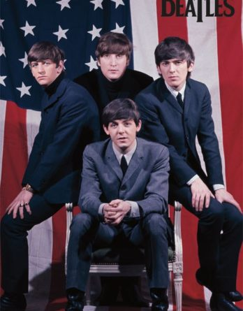 "Poster THE BEATLES WITH US FLAG ""STARS & STRIPES"", 1964"