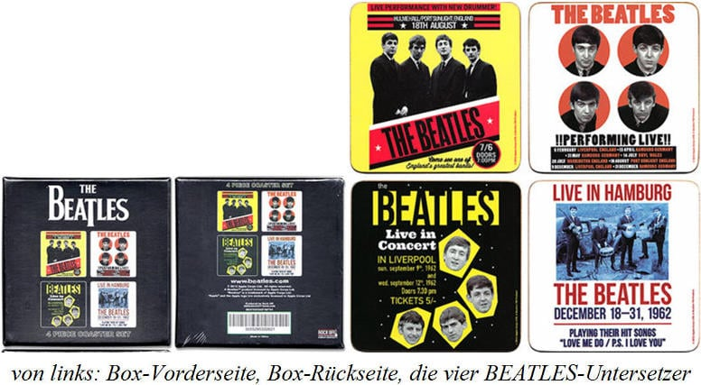 4er BEATLES-Untersetzer-Set CONCERT ADVERTISINGS