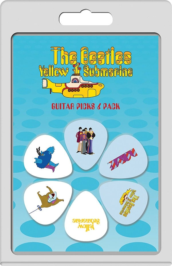BEATLES-Plektrum-Set 4: YELLOW SUBMARINE 3 WHITE & 3 PURPLE