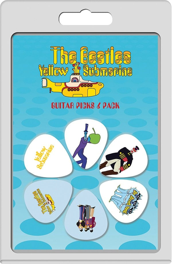 BEATLES-Plektrum-Set 5: YELLOW SUBMARINE - 4 WHITE & 2 PURPLE