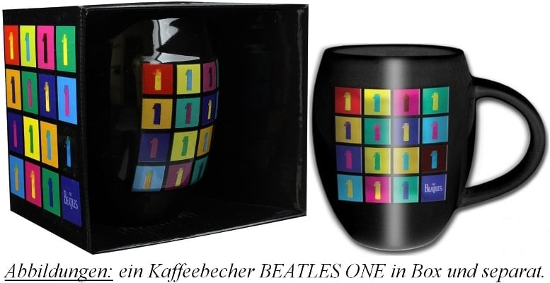 """Bauchiger"" Kaffeebecher THE BEATLES ALBUM ONE LOGOS"