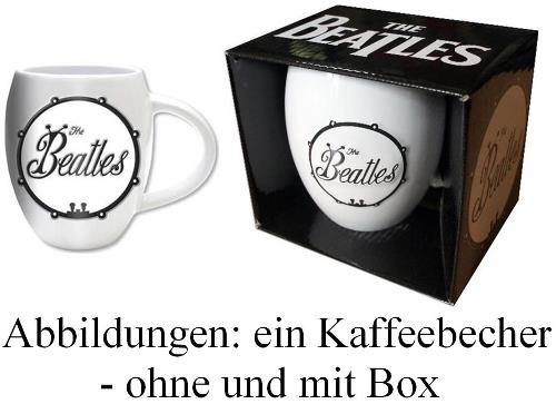 """Bauchiger"" Kaffeebecher ""BEETLE"" BASS DRUM LOGO BLACK ON WHITE"