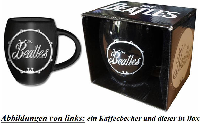 """Bauchiger"" Kaffeebecher ""BEETLE"" BASS DRUM LOGO WHITE ON BLACK"
