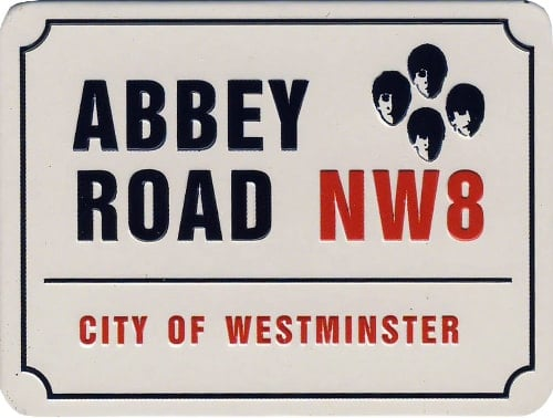 BEATLES-Relief-Magnet STREET SIGN ABBEY ROAD NW8
