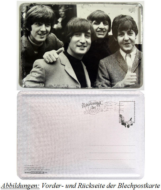 BEATLES-Blechschild/Postkarte POSTCARD THE BEATLES 1965