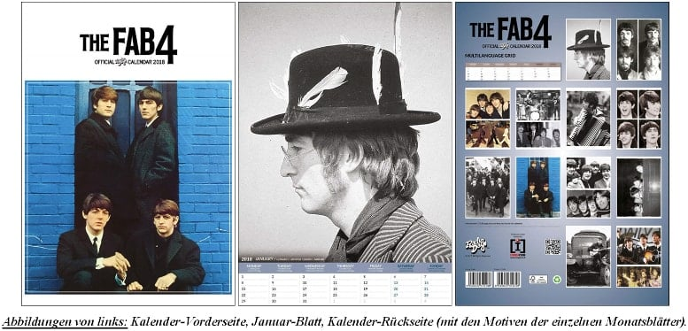 BEATLES-Kalender THE FAB 4 OFFICIAL RADIO DAYS 2018