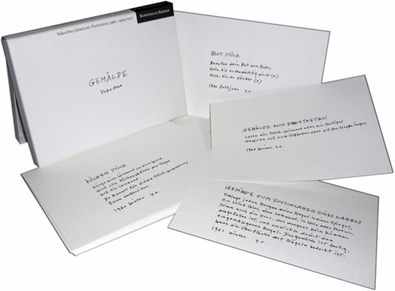 YOKO ONO: Buch GEMÄLDE in Box mit 32 Textkarten