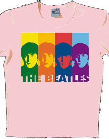 BEATLES: T-Shirt A HARD DAY'S NIGHT STRIPS ON PINK