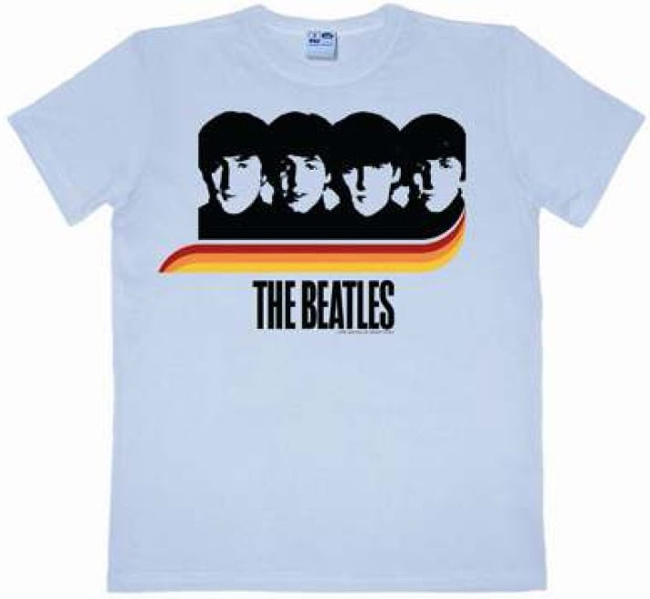 BEATLES: T-Shirt A HARD DAY'S NIGHT RAINBOW ON PASTELL BLUE