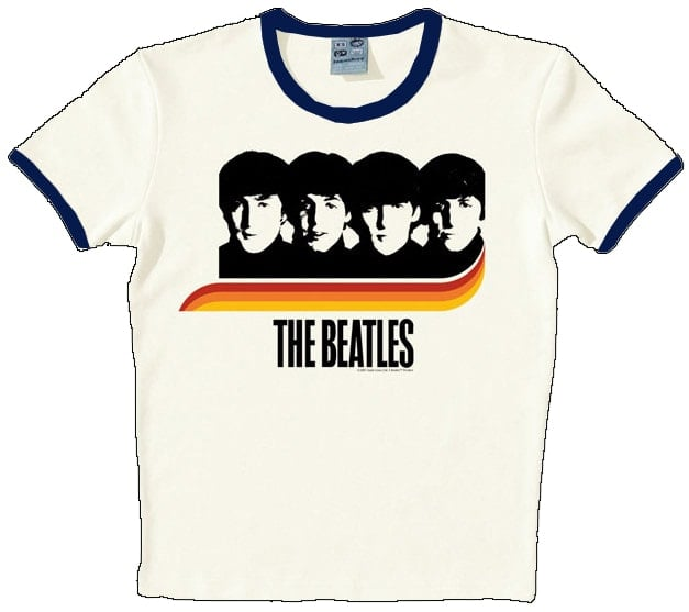 T-SHIRT A HARD DAY'S NIGHT RAINBOW ON WHITE mit blauen Rändern