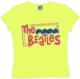 BEATLES: Girlie-Shirt A HARD DAY'S NIGHT Pastellgelb