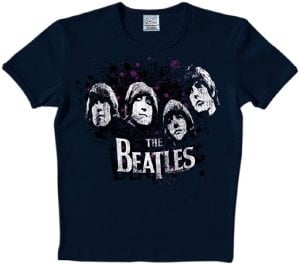 BEATLES: T-Shirt RUBBER SOUL FACES ON DARK BLUE