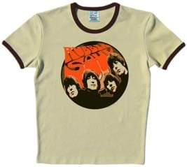 BEATLES T-Shirt RUBBER SOUL mit braunem Rand