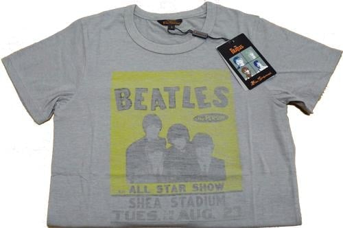 BEATLES T-Shirt  SHEA CONCERT POSTER  AUGUST 23RD 1966 GREY