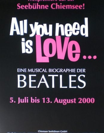 2000: Musical-Plakat ALL YOU NEED IS LOVE, mittel
